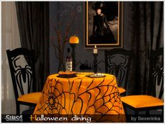 Halloween dining set at Sims by Severinka via Sims 4 Updates