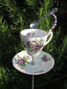 Tea cup bird feeder. I've made these and they are super easy. I got the tea cups and saucers from our local salvation army store for about .50
