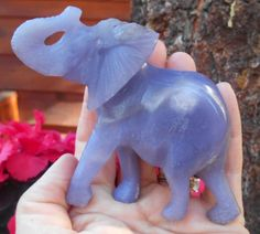 Lepidolite Gem Stone Elephant Diety Carving Statue 112 mm Large