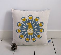 Hand Screen Printed Peacock Cushion in Grey Blue & Mustard Yellow ~ Robin & Mould