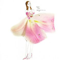 fashion illustration made of flower petals by Grace Ciao Grace Ciao, Art Floral, Moda Floral, Flower Petals, Flower Art, Flower Girls, Art Flowers, Real Flowers, White Flowers