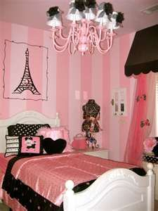 This is a beautiful idea for Avianna's Paris-themed room. Love the two different colors of pink on the walls.