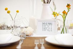 modern table numbers // photo by BirdsofaFeatherPhoto.com