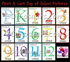 First & Last Day of School Pictures Printables - 3Dinosaurs.com