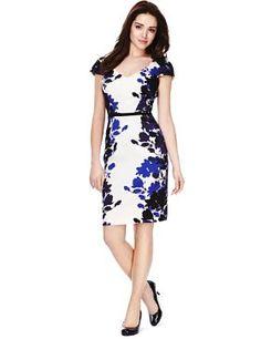 Petite Cotton Rich Mirror Floral Print Dress with Secret Support™