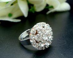 Vintage Style  Rhinestone Flower Ring