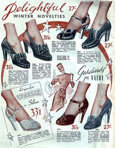 Winter novelties!! Great 1940s shoes. And what an ad. #vintage #1940s #shoes #ads