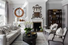 Designer Living Rooms: Katharine Pooley's Grey Living Room - The Style Guide From LuxDeco Scandi Living Room, Living Room With Fireplace, Formal Living Rooms, Small Living Rooms, Living Room Grey, Living Room Designs, Living Spaces, Townhouse Interior, London Townhouse