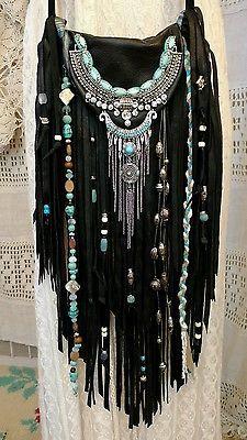 Handmade Black Leather Fringe Cross Body Bag Hippie Boho Hobo Gypsy Purse tmyers