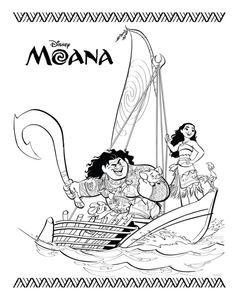 Moana and Maui - Paginas para imprimir y colorear| Moana Printable coloring Pages