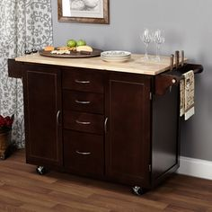 Espresso/Natural Country Cottage Kitchen Cart | Overstock.com Shopping - The Best Deals on Kitchen Carts