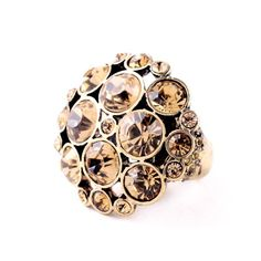 $3.55 - Vintage Faux Crystal Flower Ring For Women - #WHOLESALE #JEWELRY - Wholesalerz.com
