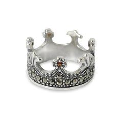 NOVICA Handmade Thai Silver Crown Ring with Garnet and Marcasite ($50) ❤ liked on Polyvore featuring jewelry, rings, band, garnet, marcasite band ring, silver rings, silver crown ring, silver marcasite rings and marcasite ring
