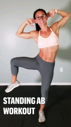 Gym Workout Videos, Gym Workout For Beginners, Fitness Workout For Women, Wall Workout, Fitness Tips For Women, Ab Workouts, Health And Fitness Tips, Hiit, Standing Ab Exercises
