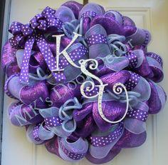 K-State Bling Wreath, KSU Wildcats, Kansas State University, Deco Mesh Wreath.