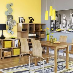 Yellow kitchen will be so much attractive for any home design whether big or small. It gives your room a bright color and more spacious. So, here are some yellow kitchen ideas for designing your kitchen room. Grey And Yellow Living Room, Yellow Dining Room, Grey Walls Living Room, Living Room Decor, Yellow Rooms, Living Rooms, Yellow Gray Room, Yellow Office, Gray Bedroom