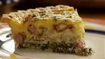 This recipe is excellent served for breakfast with fruit, or at lunch or dinner with a salad. This recipe makes two 9 inch pies. The reason for this is because if you only make one you will hate yourself the next day when there are no leftovers. Bacon, ham, and spinach and mushrooms are layered with 3 cheeses in this rich delicious egg dish.