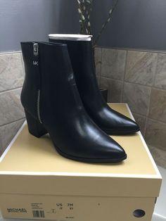 9937ef8c7861 Michael Kors Dawson Bootie NWT Black Leather 7M Boot Shoe  MichaelKors   Booties