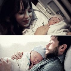 """It's a passionate love story with a kink""Anastasia holding baby teddy after he was born-christian holding baby teddy"