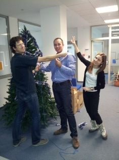 """the 1&1 colleagues, enjoyed """"the task"""" of decorating the company's Christmas Tree."""