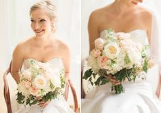 How pretty! A natural feeling, cream and blush bouquet of garden roses, spray roses, stock, and hydrangea. Mmm.