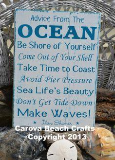 Beach Decor Sign – Beach House – Advice From The Ocean – Beach Signs – Beach Rules – Wall Decor – Beach Theme – Rustic – Coastal – Nautical | best stuff