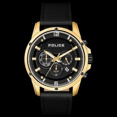 cb9baad0352 Police men s shandon gold black leather watch