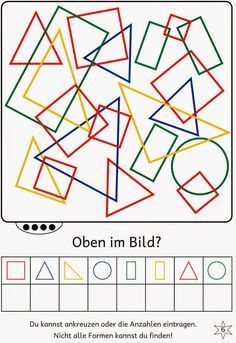 Lernstübchen: Find shapes in the picture Math Activities For Kids, Kindergarten Math Worksheets, Math Literacy, Math For Kids, Worksheets For Kids, Teaching Kids, Kids Learning, Visual Perceptual Activities, School Games