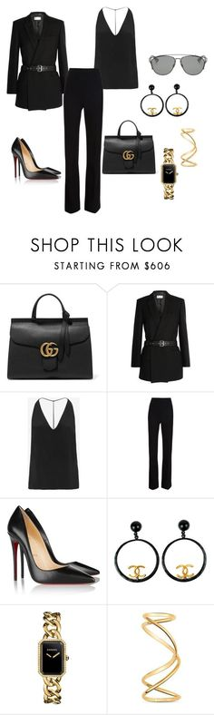 """""""Untitled #267"""" by nadiralorencia on Polyvore featuring Gucci, Yves Saint Laurent, Cushnie Et Ochs, Thierry Mugler, Christian Louboutin, Chanel, Maison Margiela, Christian Dior, women's clothing and women's fashion"""