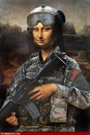 Here LA GIACONDA appears as a soldier.  Although the master was a military engineer he actually was a pacifist who hated all forms of violence.  List reasons for PEACE and create a collage to exhibit in your classroom.  Visit http://norma-peace-stuff.blogspot.com/.