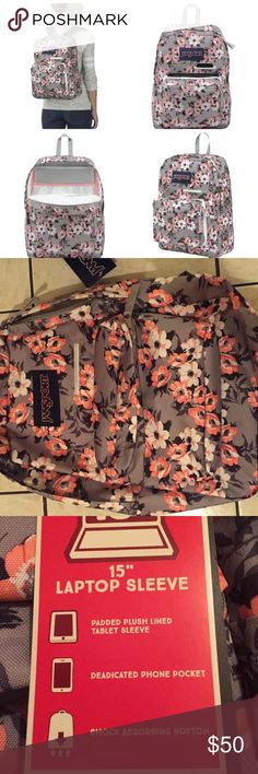 "NWT JANSPORT FLORAL BACKPACK BACKPACK with tags. Has pocket for a 15"" laptop. Pockets for a tablet and a pocket for a cell phone. Smaller pocket for pencils and other things. No defects. Any questions ask below. Jansport Bags Backpacks"