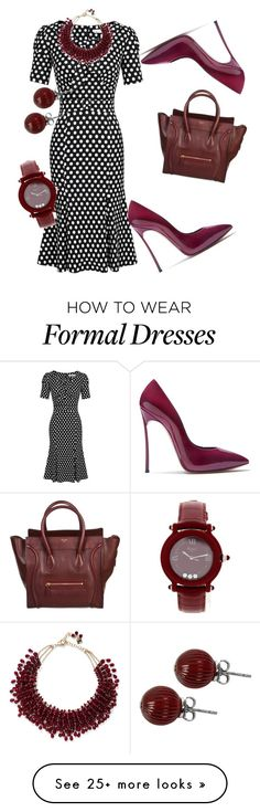 """""""Polka Dots Formal"""" by shawanda-lanette-elam-taylor on Polyvore featuring Casadei, CÉLINE, Rosantica, Lalique, Chopard and fforformal"""