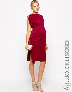 Image 1 of ASOS Maternity Scuba Midi Dress with Fold Sleeve Detail