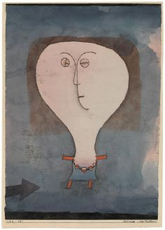 Paul Klee - Fright of a Girl (Schreck eines Mädchens), 1922. Watercolor, india ink and oil transfer drawing on paper, 32.7 × 23 cm. Solomon R. Guggenheim Museum, New York.