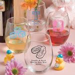 Personalized Baby Shower 15oz Stemless Wine Glasses