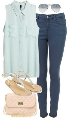 Cute look but I don't like the collar on the shirt.