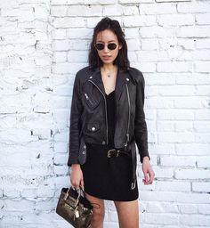 Leather jacket & LBD | IG: thatschic