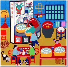 Chinese folk art, peasant painting, making steam buns, kitchen Chinese Painting, Chinese Art, Farmer Painting, New Year Art, Naive Art, Book Illustration, Pattern Art, Asian Art, Illustrations Posters