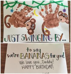 Handprint monkey birthday card Swinging in to say were bananas for you Birthday Present Dad, Daddy Birthday Card, Birthday Cards To Print, Monkey Birthday, Homemade Birthday Cards, Bday Cards, Birthday Crafts, Birthday Cards From Kids, Birthday Recipes