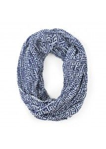 Malabar Bay Greek Key Navy Infinity Scarf is perfect for layering in fall or winter