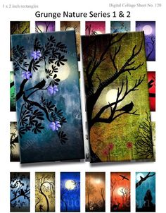BUY 2 GET 1 FREE - Instant Download - Printable Digital Collage Sheet of my original paintings - 1x2 inch for pendants, glass tiles 120