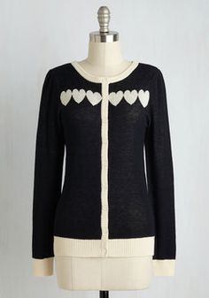 Kiev Cafe Cardigan. Even an exquisitely brewed espresso and a fine berry torte cant hold a candle to this adorable cardi - part of our ModCloth namesake label! #black #modcloth