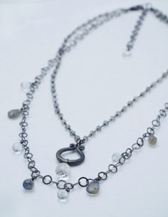 SALE! Gorgeous labradorite and quartz on oxidized silver chain. www.calliope-jewelry.com