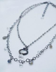 SALE! Gorgeous labradorite and quartz on oxidized silver chain. www.calliope-jewelry.com