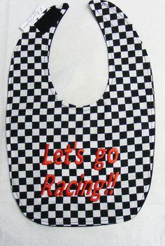 Lets Go Racing Small Baby Bib by FForrestCreations on Etsy, $7.50
