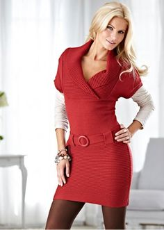 Belted wrap knit dress