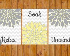 Instant Download Flower Burst Gray Yellow Wall Decor by scadesigns