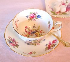 Vintage Teacup Set Hammersley & Co. Floral English China Tea cup and Saucer Set with Pink Roses and Gold Bone China - England Cottage Chic by HouseofLucien
