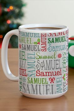 Sure, it's got Christmas flair. But whether it's filled with hot chocolate or a peppermint mocha, our name-covered mug will help get every day off to a jolly start all year round. Personalised Name Mugs, Personalized Christmas Gifts, Samuel Samuel, Peppermint Mocha, Holiday Wishes, Christmas Decorations, Holiday Decor, Feeling Special, Hot Chocolate