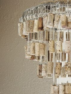 DIY wine cork chandelier- let's drink more wine